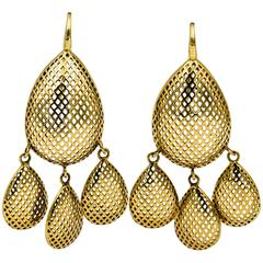 Ray Griffith 18 Karat Yellow Gold Open Crown Work Chandelier Earrings