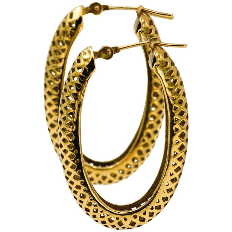 Ray Griffiths 18 Karat Yellow Gold Hollow Oval Hoop Earrings