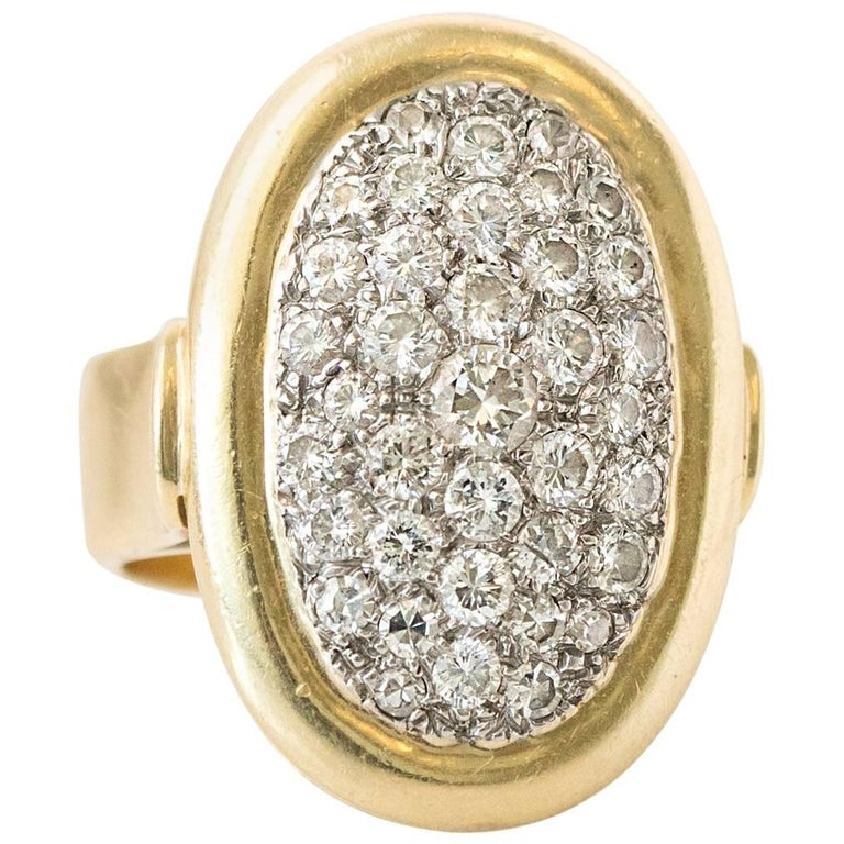 1950s Pave Diamond and 18 Karat Yellow Gold Oval Cocktail Ring