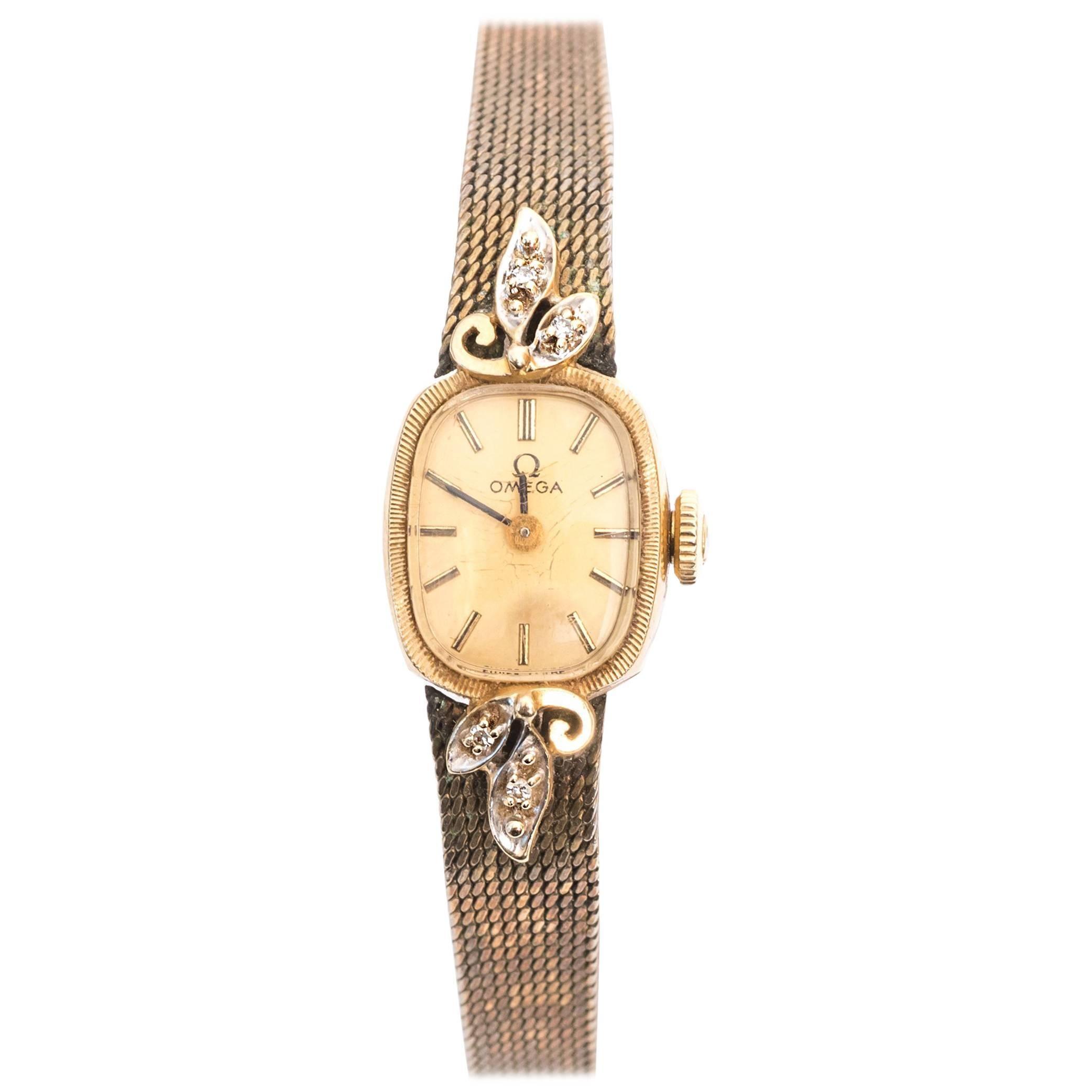 Omega Ladies Yellow Gold Diamonds Wristwatch circa 1970s