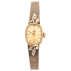 Omega Ladies Yellow Gold Diamonds Wristwatch circa 1970s