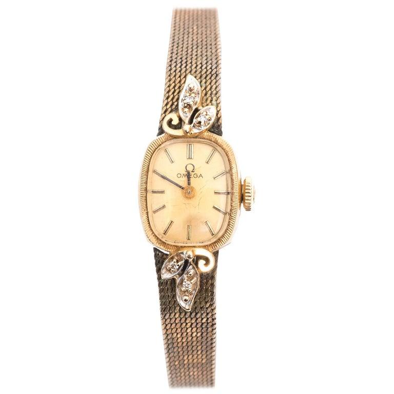 Omega Ladies Yellow Gold Diamonds Wristwatch circa 1970s  For Sale