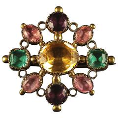 Antique Georgian Harlequin Brooch Gemset Paste, circa 1700