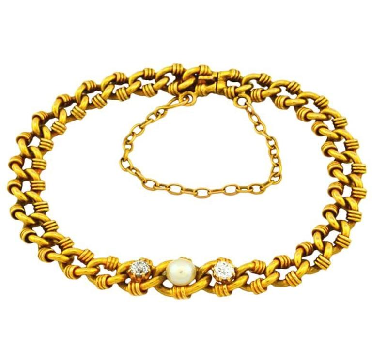 Victorian Gold Link Bracelet with Pearl and Diamonds 1
