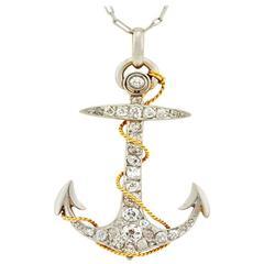 Edwardian Diamond Gold Platinum Anchor Pendant