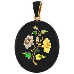 Large Victorian Black Enamel Floral Locket