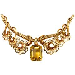 Citrine Retro Necklace, French