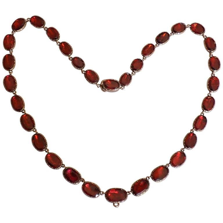 Georgian Garnet Gold Riviere Necklace