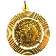 Large Gold Caracas Venezuela Coin Pendant Charm