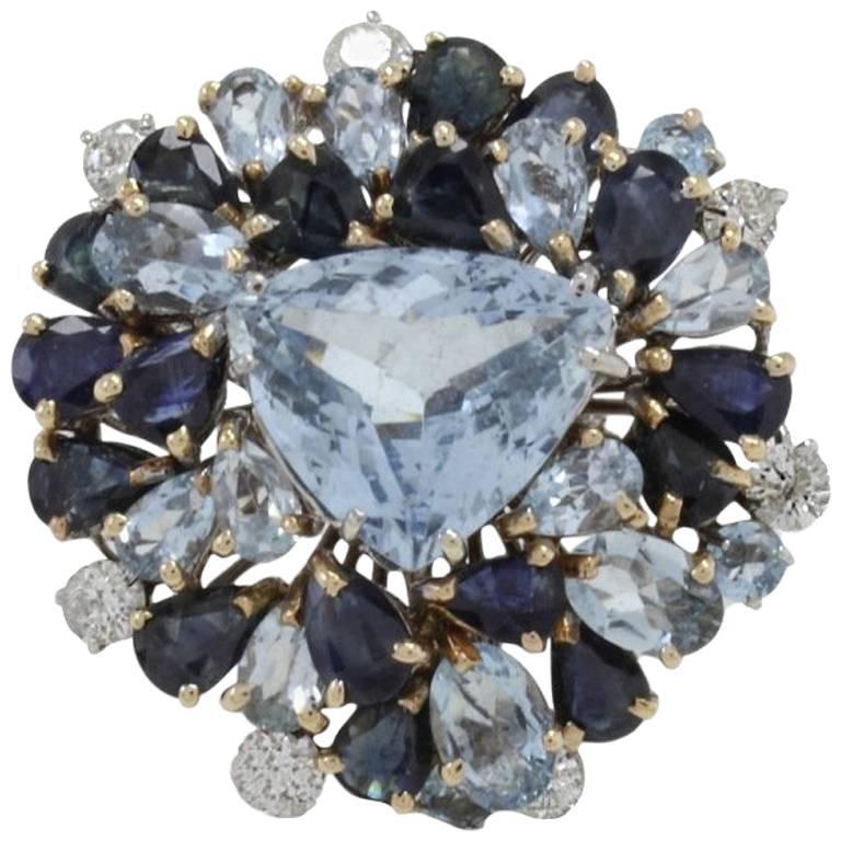 Luise Diamonds Blue Sapphires Aquamarine Gold Fashion Ring 1