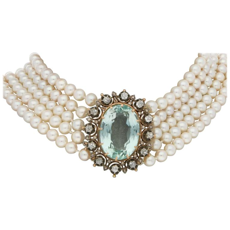 Victorian 1860s Aquamarine, Diamond and Pearl Necklace