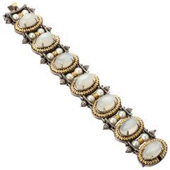 Stambolian Silver Gold Moonstone Bracelet