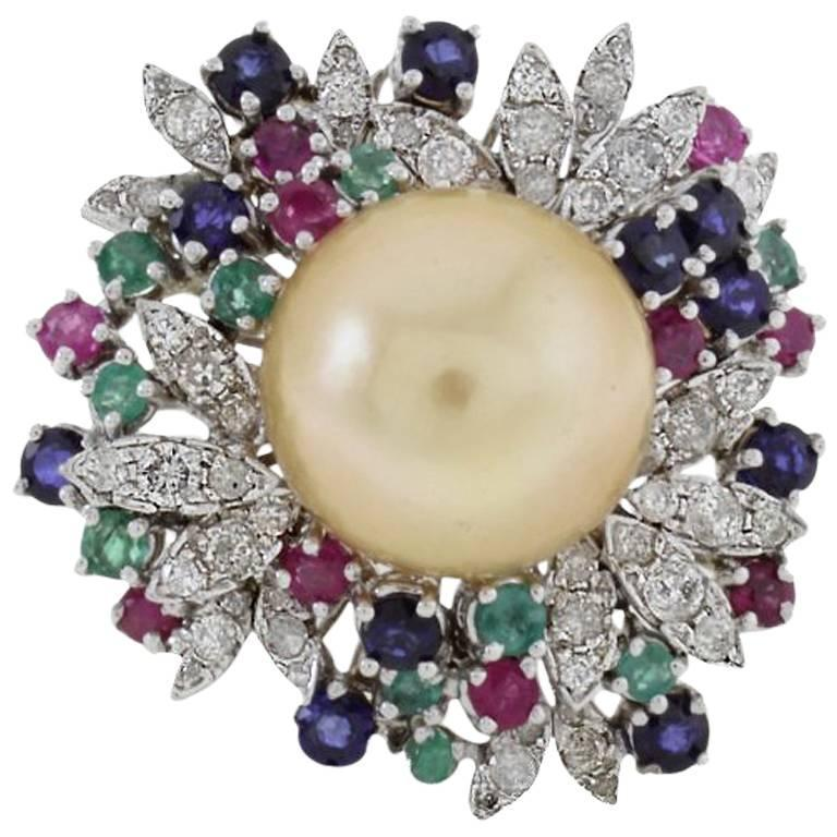 Diamonds Emeralds Rubies Blue Sapphires Yellow Pearl Cluster Gold  Ring