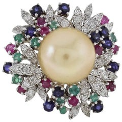 Diamonds Emeralds Rubies Blue Sapphires Yellow Pearl Yellow Gold Cluster Ring