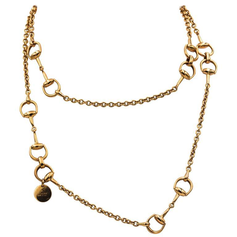 ddc0ab3e5 Gucci 18 Karat Rose Gold Horsebit Chain Necklace at 1stdibs
