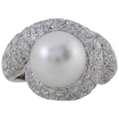 CT 2,41 Diamonds,Australian South Sea Pearl Gold Cluster Ring