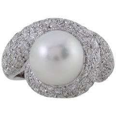 CT 2,41 Diamonds,Australian South Sea Pearl Gold Cluster Ring