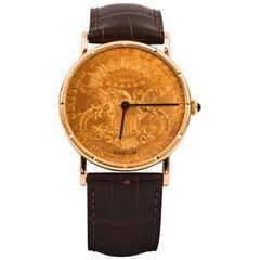 Corum Yellow Gold Liberty $20 Coin Face Manual Wind Wristwatch