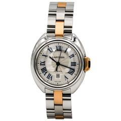 Cartier Ladies Yellow Gold Stainless Steel Cle De Cartier Automatic Wristwatch