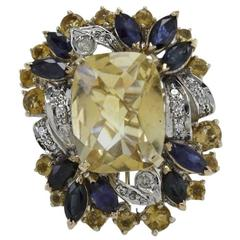 ct 13,38 Diamonds Blue Sapphires Yellow Topaz Cluster Gold Ring