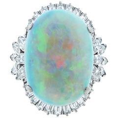 Fiery Platinum Mount Opal and Diamond Ring
