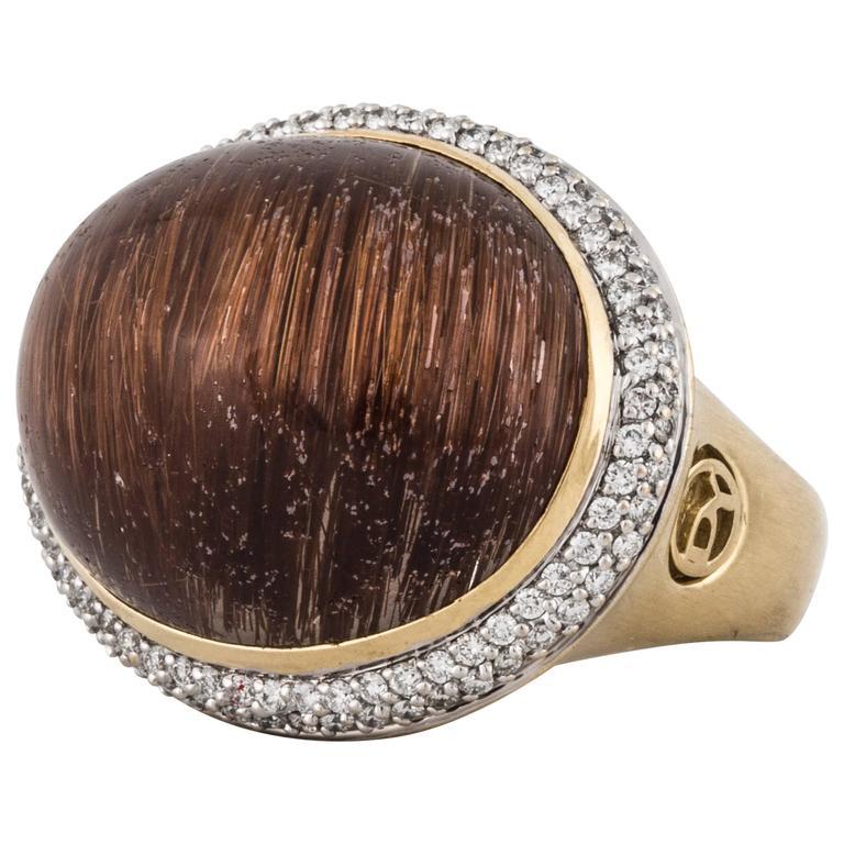 David Yurman Rutilated Quartz 18 Karat Ring