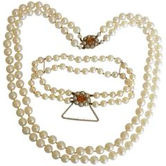 Two Row Cultured Pearl Necklace Bracelet Set on Citrine Clasp