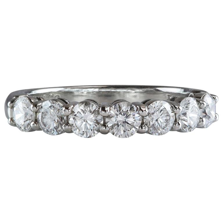 Tiffany And Co Seven Stone Diamond Platinum Ring For Sale