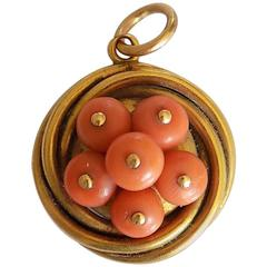 15K Victorian Gold Coral Hair Locket Pendant