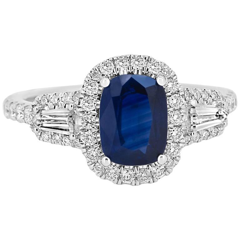 1.67 Carat Cushion Blue Sapphire Diamond Halo Gold Ring
