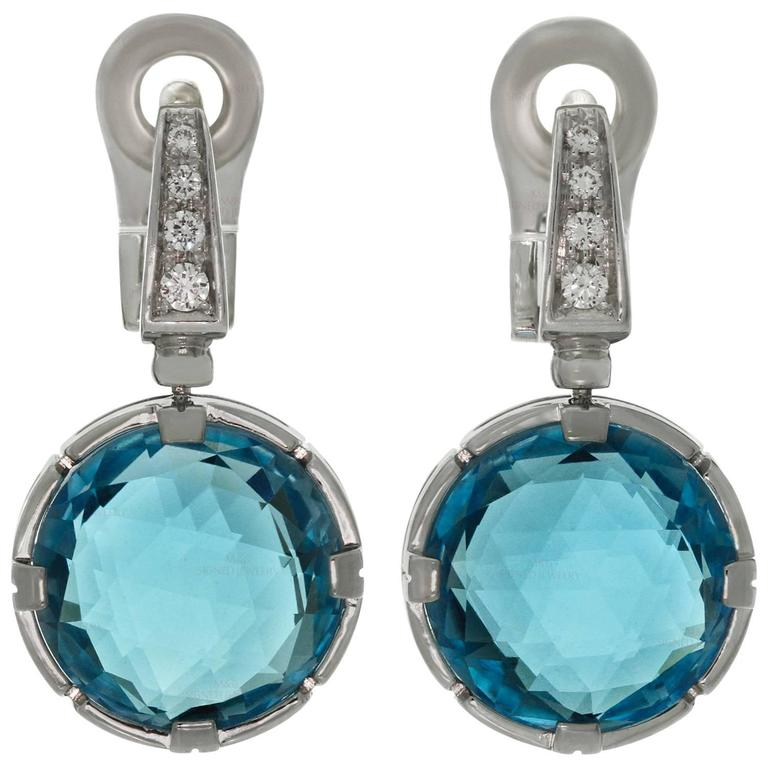 Bulgari Paesi Diamond Blue Topaz White Gold Drop Earrings For