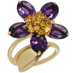 Van Cleef & Arpels Hawaii Amethyst Orange Sapphire Yellow Gold Ring