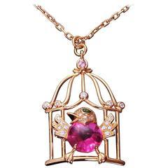 Cartier Free as a Bird Diamond Rubellite Peridot Rose Gold Necklace