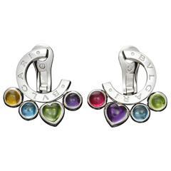 Bulgari Allegra Multicolor Gemstone 18 Karat White Gold Earrings