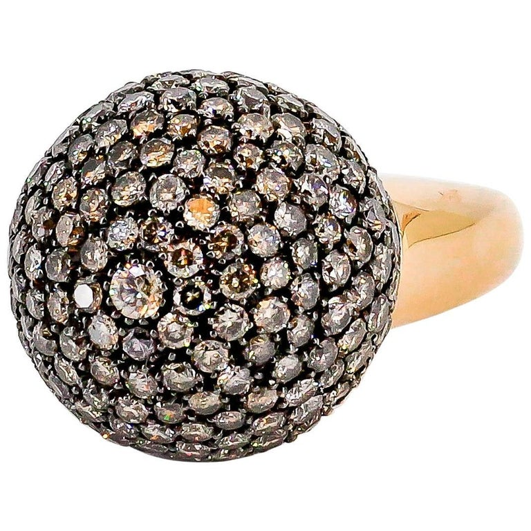 De Grisogono Colored Diamond and Rose Gold Dome Ring 1