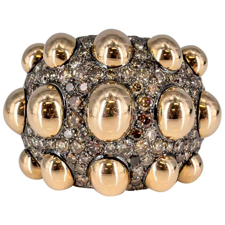 De Grisogono Chocolate Diamond Rose Gold Fashion Ring