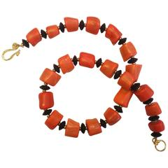 Michael Kneebone Salmon Branch Coral Black Onyx Nugget Necklace