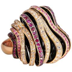 De Grisogono Pink Sapphire Red Ruby Diamond Rose Gold Fashion Ring