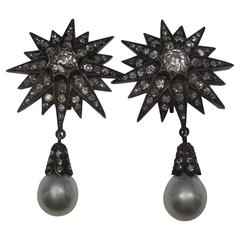 Victorian Silver over Gold Diamonds Stars with Large Pearl Drop Earrings