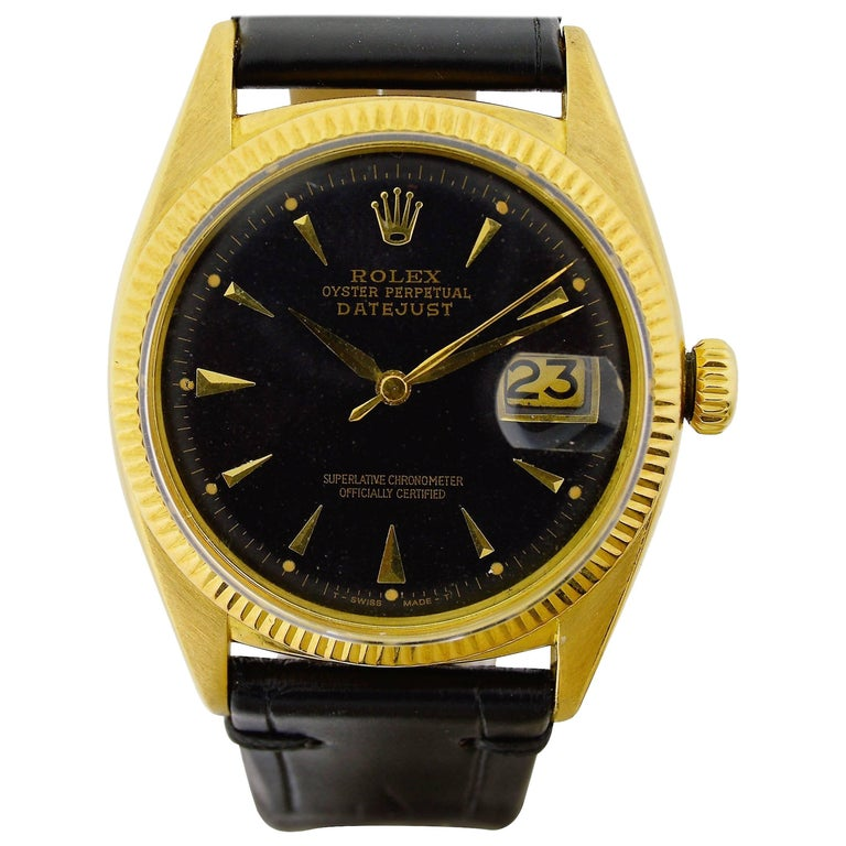 Rolex Yellow Gold Early Datejust Watch, circa 1950 For Sale