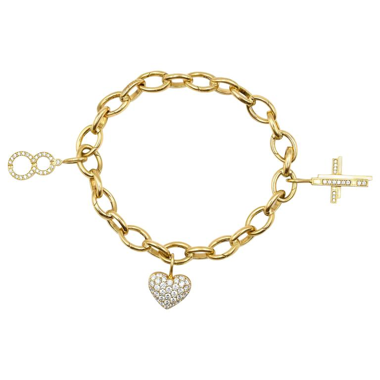 Harry Winston Diamond Gold Charm Bracelet