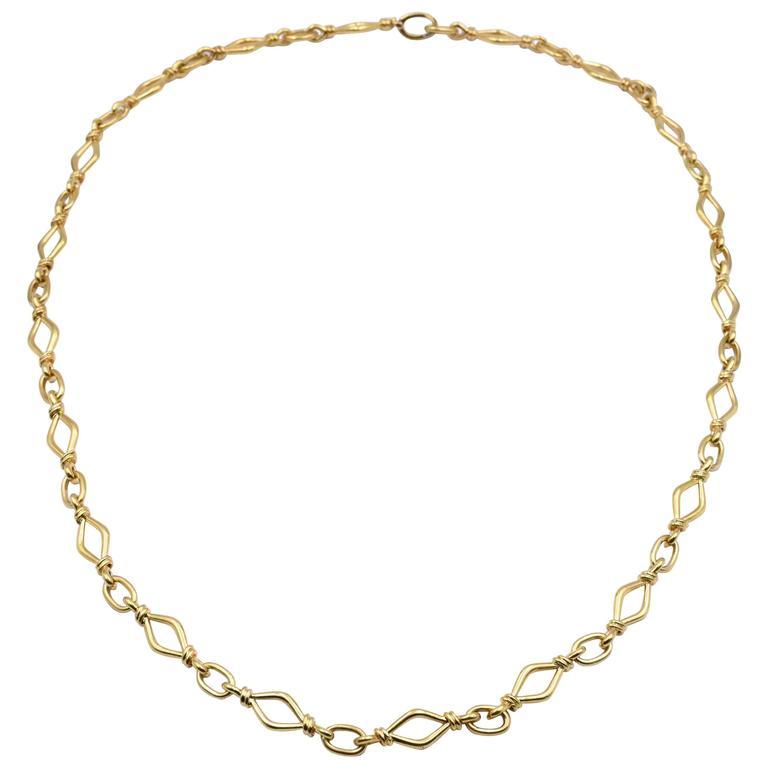 David Webb Gold Link Necklace