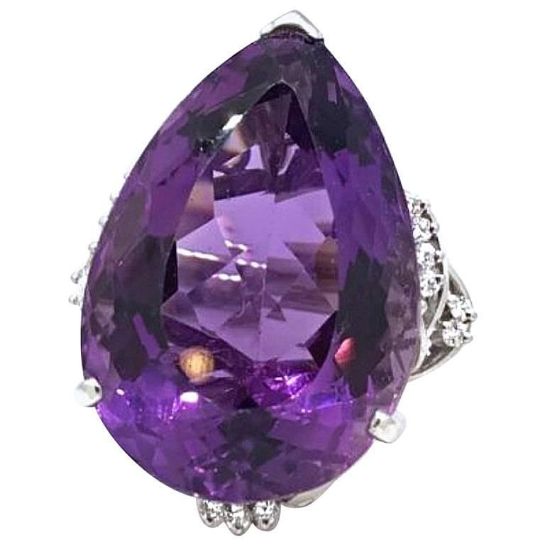 Large 68.50 Carat Pear Shaped Amethyst Diamond Platinum Cocktail Ring