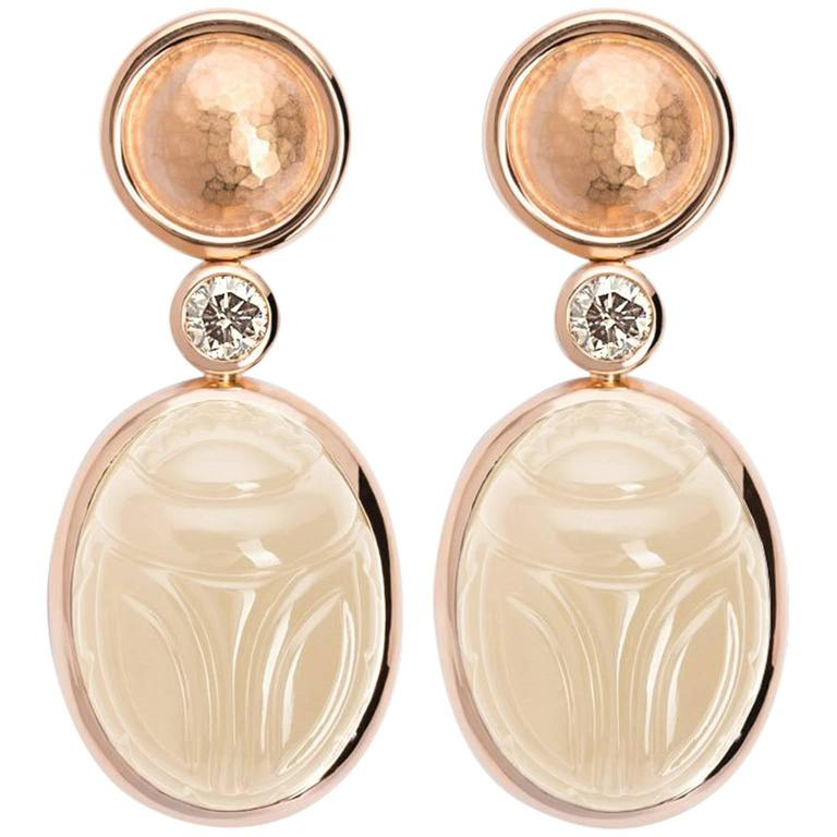 Colleen B. Rosenblat Moonstone Brilliant Cut Diamond Rose Gold Earrings