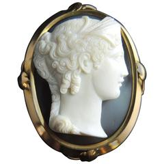 French Antique Agate Cameo Brooch And Pendant
