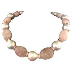 Crewneck Necklace Baroque Pearls Morganites Pink Sapphires Bakelites