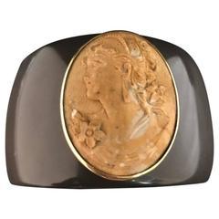 Cameo Lava Stone and Bakelite Yellow Gold Cuff Bracelet