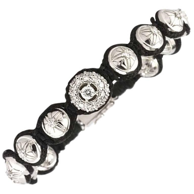Diamond and Gold Ball Bracelet 1.35 Carat For Sale
