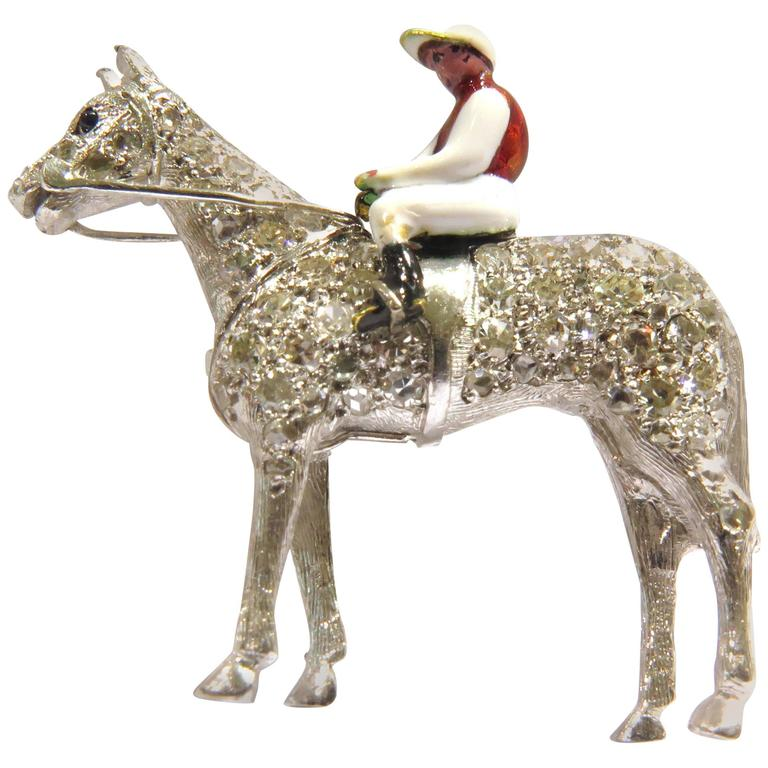Diamond Enamel Horse and Rider Platinum Art Deco Equestrian Pin For Sale