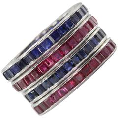 Tiffany & Co. Four Stackable Art Deco Ruby Sapphire Platinum Eternity Band Rings